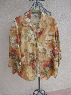 Harve Benard Shirt 3X Floral 3/4 Linen Top Plus Career Brown Rust Roses New NWOT #HarveBenard #ButtonDownShirt #Career