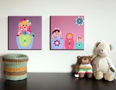 Russian Dolls painting on canvas. Babushka Matryoshka dolls wall art picture (not print) pink artwork for girls room nursery.