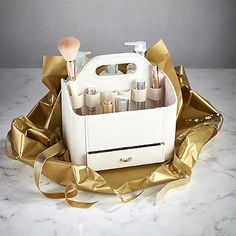 Cream Faux Leather Make Up Storage Caddy - from Lakeland