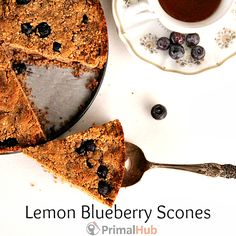 Grain Free Lemon Blueberry Scones! Made with banana flour and almond flour, these are a delicious breakfast or snack.