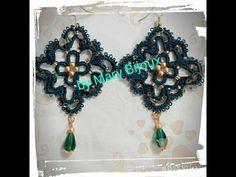 """Orecchini chiacchierino """"Smeraldo""""--Earrings tatting """"Emerald"""""""