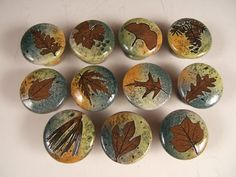 30 cabinet knobs pulls FREE SHIPPING drawer pulls ceramic knobs with tree leaves in Change of Seasons Glaze