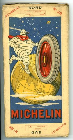 1920 Michelin Map with Cigar Smoking Michelin Man