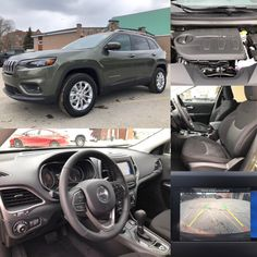 2019 'Olive Green' Jeep Cherokee North 4x4.  BLUETOOTH. BACKUP CAM. HTD SEATS. TOW.  Stock 19003.  Click pic for more details.