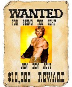 Jon Bon Jovi Mini Wanted Too Sexy Poster by BBSLITTLETREASURES07, $8.99