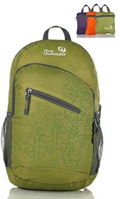 Outlander Packable Handy Lightweight Travel Hiking Backpack Daypack, Green…