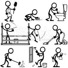 Stick Figure People Cleaning stock vector art 19738571 - iStock
