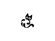Black Cat by Dalajlampa # Cats logo Black Cat Logo Gato, Cat Logo, Logo Luxury, Gatos Cool, Negative Space Logos, Cat Icon, Cat Crafts, Animal Logo, Cat Drawing