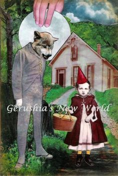 An Unexpected Visitor ~ ORIGINAL Anthropomorphic Watercolor/Collage by GerushiasNewWorld for $60.00