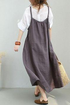 Women Summer Strap Linen Long Dress Casual Clothes 877