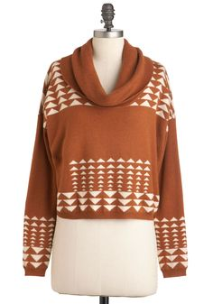 No Mountain Too High Sweater - Short, Tan, White, Long Sleeve, Casual, Rustic, Fall