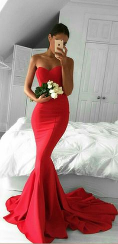 Mermaid Red Prom Dress,Long Prom Dresses,Charming Prom Dresses,Evening Dress, Prom Gowns, Formal Women Dress,prom dress