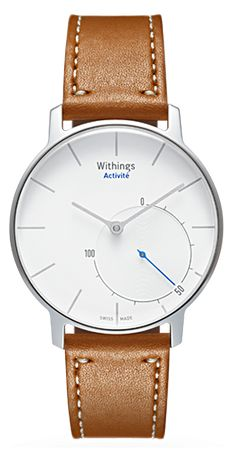 Withings Activité. Analog activity tracking watch with calf leather strap (plastic for swimming). Accelerometer for steps, distance, calories. Sleep monitoring. Responsive glass responds to tapping. Vibration feedback. App to set alarm, goals. Swiss made, water resistant, battery powered (doesn't need to be recharged). Available Fall 2014. UPDATE 12/14 now available.