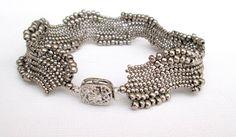 silver seed bead bracelet OOAK bracelet art jewely by beadnurse Beaded Jewelry Designs, Jewelry Art, Jewelry Gifts, Handmade Jewelry, Woven Bracelets, Seed Bead Bracelets, Seed Beads, Diy Schmuck, Schmuck Design