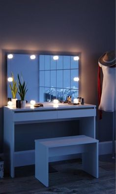 Apr 2020 - White Large Dressing Table with Mirror and LED Lights - Rare Epoch Minimalist Dressing Tables, Simple Dressing Table, Dressing Table With Drawers, Dressing Table Design, Lights Around Mirror, Mirror With Led Lights, Bulb Mirror, Lighted Mirror
