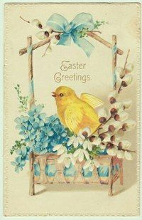 Vintage Easter Postcard Chick in Pussywillow Flower Basket Easter Art, Hoppy Easter, Easter Crafts, Vintage Greeting Cards, Vintage Postcards, Decoupage, Images Vintage, Easter Pictures, Easter Parade