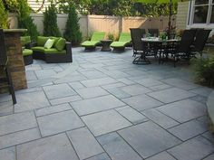 20 Great Patio Ideas - With great inspiration, design and execution, your patio can become another centerpiece of your home. We are always drawn to landscaping ideas that incorporate a strong focus on outdoor living space and a patio can … Bluestone Patio, Concrete Patio, Pavers Patio, Paver Walkway, Unilock Pavers, Flagstone Path, Concrete Bricks, Concrete Stone, Stained Concrete