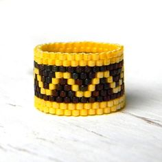 Ring made of Japanese delica seed beads. Band width - 14 mm Size - 7.5 (US)  -------More beaded rings from my shop you can see here:-------