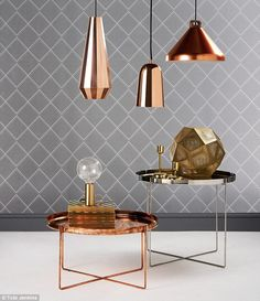 Copper Side Table, by Ben Pentreath Copper Lamps, Brass Pendant Light, Brass Table Lamps, Copper And Brass, Copper Side Table, Copper Coffee Table, Living Furniture, Cool Furniture, Stainless Steel Table