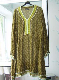 "*Gudrun Sjoden* quirky Amalia print embroidered tunic layering dress XL 46"" VGC #GudrunSjoden #BohoHippie #Casual"