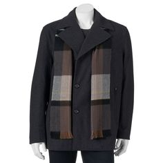 Big & Tall Towne Wool-Blend Double-Breasted Peacoat with Plaid Scarf, Men's, Size: 4X Big, Grey Other