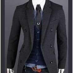 Mens Long Wool Pea Coat T8NLfH