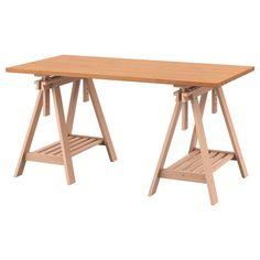 שולחן GERTON/FINNVARD Ikea Inspiration, Ikea Solid Wood, Ikea Linnmon, Wood Interiors, Table Legs, Glass Table, My New Room, Home Deco, Wood Furniture