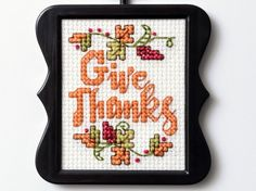 """Crisp fall leaves in the air, apple cider and football! We're welcoming fall, and to help you celebrate the season, our Bucilla® team brings you this sweet """"Give Thanks"""" free downloadable cross stitch pattern!"""