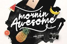 Mornin Awesome + Swashes by Maulana Creative on Creative Market