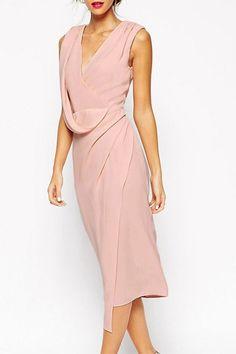 Pink Plunging Neck Sleeveless Midi Dress