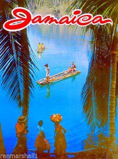 Jamaica-Jamaican-Caribbean-Island-Beach-Vintage-Travel-Advertisement-Art-Poster