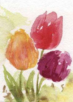 Original  tulips watercolor painting  ACEO watercolor