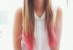 Dirty blonde hair with pink dip dye