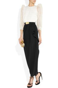 Alessandra Rich|Silk-cloqué and crepe gown|NET-A-PORTER.COM