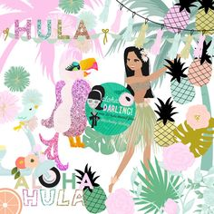 Cute Hula Girl Tropical Aloha Luau Clipart Png files for Small CU like Planner Stickers Custom Card Template flowers Great Resolution for full