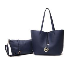Michael Kors Large Leather Shoulder Tote Navy Blue