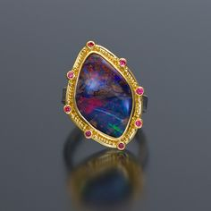 granulation 22kt gold oxidized silver opal ring