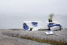 Merellä fabric and cushion and Portsa rug by Riina Kuikka, Hip hop cushions