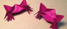 origami animaux - crabes originaux en papier rose néon