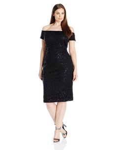 Alex Evenings Women's Plus-Size Off-the-Shoulder Sequin Lace Dress *** Quickly view this special  product, click the image : Plus size dresses
