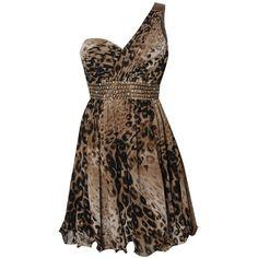Little Mistress Lizzie Leopard Print One Shoulder Prom Dress ($30) ❤ liked on Polyvore