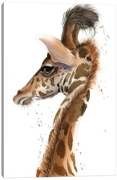 Canvas Art by Olga Shefranov | iCanvas Watercolor Animals, Watercolor Paintings, Original Paintings, Original Art, Watercolour, Giraffe Painting, Giraffe Art, Giraffe Illustration, Bird Artwork