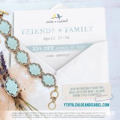Use promo code SPRFF25 for 25% off orders of $100+. Shop now http://ytiffa.chloeandisabel.com
