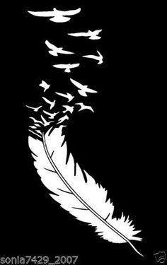 Feather-With-Birds-White-Vinyl-Aufkleber-Cute-Funny-Auto-LKW-Fenster Maren Klett Stencil Patterns, Stencil Art, Feather Stencil, Stenciling, Silhouette Cameo Projects, Silhouette Design, Window Decals, Vinyl Decals, Cute Car Decals