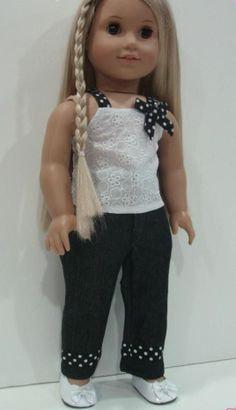 "EYELET TOP +  BLACK JEANS PANTS - 18"" Girl Doll Clothes - An American Boutique"