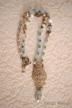 """Sugah Beez: """"The Josephine assemblage necklace was a fun piece to work on. Some of my favorite materials were used - amazonite, freshwater pearls and vintage beads."""""""