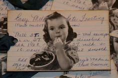 Chocolate Frosting Recipe Altered Art Gift by GreenAcresCottage Homemade Recipe Books, Homemade Cookbook, Homemade Goo, Scrapbook Recipe Book, Vintage Bookmarks, Blue Frosting, Chocolate Frosting Recipes, Little Girl Birthday, Christmas Gift Tags