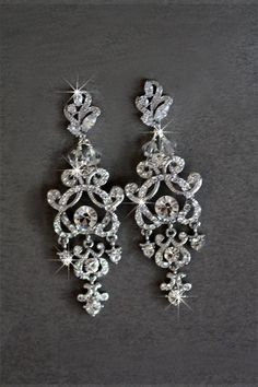 Bridal Earrings Crystal Swarovski Cubic Zirconia by simplychic93