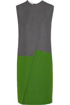 Fantastic new designer. Love the drape. Cédric Charlier Color-block piqué dress  | NET-A-PORTER