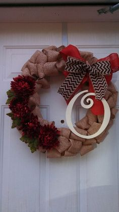 Fall burlap wreath.  I don't love the flowers but really like everything else